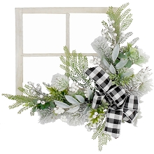 Fraser Hill Farm 24-in. Square Window Frame Door Hanging with Greenery and Plaid Bow, FF024CHWR019-0WHT