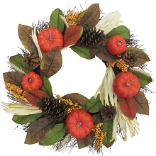 Fraser Hill Farm 24-inch Fall Harvest Wreath Door Hanging with Corn Husks, Pumpkins and Pine Cones, FF024HVWR001-0MLT