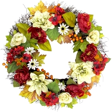 Fraser Hill Farm 24-inch Fall Harvest Wreath Door Hanging with Dahlias, Hydrangeas, and Peonies, FF024HVWR003-0MLT