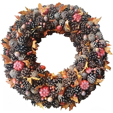 Fraser Hill Farm 24-In. Fall Harvest Pine Cone Wreath with Pumpkins for Door, Wall, or Covered Entrance, FF024HVWR008-0MLT
