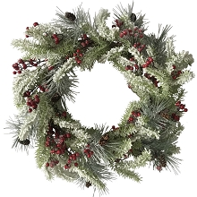 Fraser Hill Farm 25-In. Snow-Covered Wreath Door or Wall Hanging - Frosted with Pinecones and Berries, FF025CHWR001-0SN