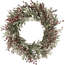 Fraser Hill Farm 25-In. Snow-Covered Wreath Door or Wall Hanging - Frosted with Berries, FF025CHWR002-0SN