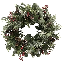 Fraser Hill Farm 25-In. Snowy Wreath Door or Wall Hanging - Lightly Frosted with Pinecones and Berries, FF025CHWR003-0GR