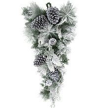 Fraser Hill Farm 30-in. Christmas Snow Flocked Teardrop Door Swag with Pinecones, FF030CHTD001-0SN