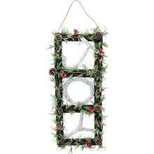 Fraser Hill Farm 33-in. Christmas Christmas JOY Door Hanging with Berries and Pinecones on Grapevine Frame, FF033CHWR002-0WHT