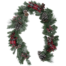 Fraser Hill Farm 6-Ft. Christmas Lightly Frosted Garland with Pinecones, Berries, and Plaid Bows, FF072CHGL002-0RD