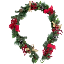 Fraser Hill Farm 9-Ft. Christmas Garland with Pinecones, Bows, Berries, and Twig Balls, FF108CHGL001-0RED