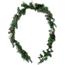 Fraser Hill Farm 9-Ft. Christmas Garland with Pinecones, White Berries, and Plaid Ornaments, FF108CHGL002-0GR