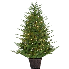 Fraser Hill Farm 4.0-Ft Andirondack Pre Lit Potted Christmas Tree Décor with Warm White LED Lights, FFAD048P-5GR