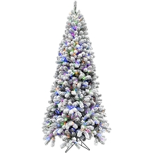 Fraser Hill Farm 6.5-Ft. Flocked Alaskan Pine Christmas Tree with Multi-Color LED String Lighting - FFAF065-6SN