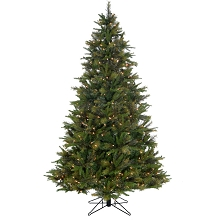 Fraser Hill Farm 6.5-Ft Berwyn Green Christmas Tree with Mixed Branch Styles and EZ Connect Warm White LED Lights, FFBB065-5GR