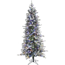 Fraser Hill Farm 7.5 Ft. Buffalo Fir Slim Artificial Christmas Tree with Multi-Color LED String Lighting - FFBF075-6SN