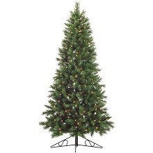 Fraser Hill Farm 7.5-Ft. Canyon Pine Half-Wall or Corner Christmas Tree with Clear Lights - FFCM075W-1GR