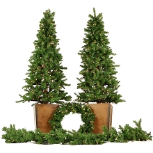 Fraser Hill Farm Colorado Fir Artificial Holiday Doorway Bundle with Two 6 Ft. Potted Trees, 24 In. Wreath, and 9 Ft. Garland, FFCO000-SET4