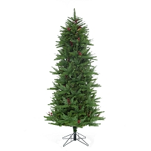 Fraser Hill Farm 6.5-Ft Evergreen Berry Green Slim Christmas Tree with Pinecones, Berries and Metal Stand, FFEB065-0GR