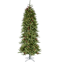 Fraser Hill Farm 6.5-Ft Evergreen Berry Green Prelit Slim Christmas Tree with Pinecones, Berries and EZ Connect Warm White LED Lights, FFEB065-5GR