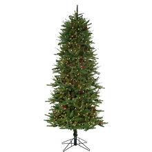 Fraser Hill Farm 7.5-Ft Evergreen Berry Green Prelit Slim Christmas Tree with Pinecones, Berries and EZ Connect Clear Smart Lights, FFEB075-3GR