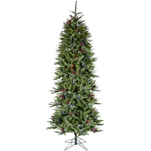 Fraser Hill Farm 7.5-Ft Evergreen Berry Green Prelit Slim Christmas Tree with Pinecones, Berries and EZ Connect Multi-Color LED Lights, FFEB075-6GR