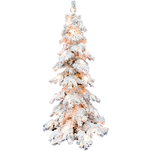 Fraser Hill Farm 7.5-ft. Elk Mountain Snow Flocked Christmas Tree with Clear Lighting, FFEM075-5SN