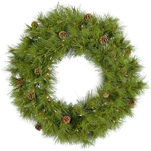 Fraser Hill Farm 36-In. Eastern Pine Artificial Holiday Wreath with Clear Battery-Operated LED String Lights - FFEP036W-5GRB