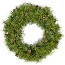 Fraser Hill Farm 36-In. Eastern Pine Artificial Holiday Wreath with Multi-Colored Battery-Operated LED String Lights - FFEP036W-6GRB