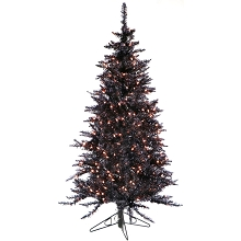 Fraser Hill Farm 5-Ft. Festive Black Tinsel Christmas Tree with Clear LED Lighting, FFFT050-1BL