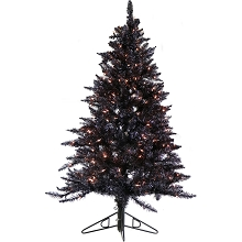Fraser Hill Farm 7-Ft. Festive Black Tinsel Christmas Tree with Clear LED Lighting, FFFT070-1BL