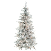 Fraser Hill Farm 7-Ft. Festive Silver Tinsel Christmas Tree with Clear LED Lighting, FFFT070-1SL