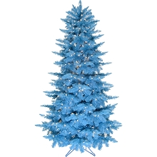 Fraser Hill Farm 6.5-Ft. Festive Turquoise PVC Tree with Warm White LED Lighting, FFFTPVC065-5TU