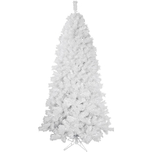 Fraser Hill Farm 6.5-Ft Prelit Frosted Valley White Christmas Tree with EZ Connect Clear Smart Lights and Metal Stand, FFFV065-3WH