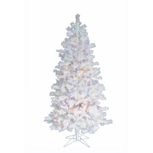 Fraser Hill Farm 6.5-Ft Prelit Frosted Valley White Christmas Tree with EZ Connect Multi LED Lights and Metal Stand, FFFV065-6WH
