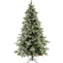 Fraser Hill Farm 7.5-Ft. Glistening Pine Tree with Pine Cones, Multi-Color LED Lights and EZ Connect - FFGP075-6GREZ