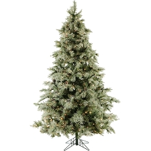 Fraser Hill Farm 9.0-Ft. Glistening Pine Tree with Pine Cones, Clear Smart Lights and EZ Connect - FFGP090-5GR