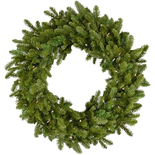 Fraser Hill Farm 48-In. Grandland Artificial Holiday Wreath with Clear Battery-Operated LED String Lights - FFGT048W-5GR