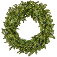 Fraser Hill Farm 48-In. Grandland Artificial Holiday Wreath with Multi-Colored Battery-Operated LED String Lights - FFGT048W-6GR