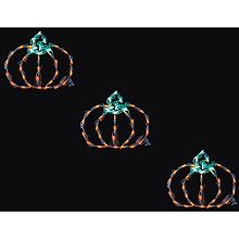 Haunted Hill Farm Halloween Indoor/Outdoor LED Lights, Set of 3 Mini Pumpkins (13 x 11 inches each), FFHELED013-PMP0-ORN