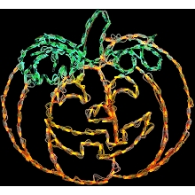 Haunted Hill Farm Halloween Indoor/Outdoor LED Lights, Happy Jack-O-Lantern (31 x 29 inches), FFHELED031-PMP0-ORN
