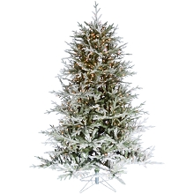 Fraser Hill Farm 6.5-Ft Highland Frosted Green Prelit Christmas Tree with EZ Connect Clear Smart Lights and Metal Stand, FFHL065-3FR