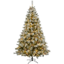 Fraser Hill Farm 6.5-Ft Prelit Homestead Pine Frosted Christmas Tree with EZ Connect Warm White LED Lights, Pinecones, and Berries, FFHM065-5GR