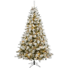 Fraser Hill Farm 7.5-Ft Prelit Homestead Pine Frosted Christmas Tree with EZ Connect Warm White LED Lights, Pinecones, and Berries, FFHM075-5GR