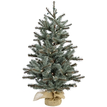 Fraser Hill Farm 3-Ft. Heritage Pine Artificial Tree with Burlap Base and Battery-Operated LED String Lights, FFHP042-5GRB