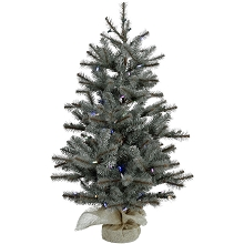Fraser Hill Farm 3-Ft. Heritage Pine Artificial Tree with Burlap Base and Battery-Operated Multi-Colored LED String Lights, FFHP042-6GRB