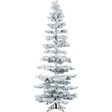 Hillside Slim Christmas Tree 7.5' Tree, No lights, Snow - FFHS075S-0SN