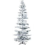 7.5 Ft. Hillside Slim Flocked Pine with Clear LED String Lighting - FFHS075S-5SN