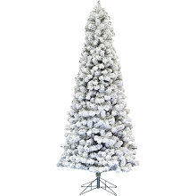Fraser Hill Farm 9-Ft. Hillside Slim Flocked Pine No Lights, FFHS090S-0SN