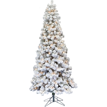 Fraser Hill Farm 9-Ft. Hillside Slim Flocked Pine with Warm White Lighting, FFHS090S-5SN