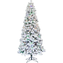 Fraser Hill Farm 9-Ft. Hillside Slim Flocked Pine with Music and Multi-Color LED String Lighting, FFHS090S-6SN