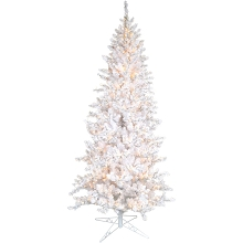 Fraser Hill Farm 7.5-Ft Icy Fir White Christmas Tree with Cool White LED Twinkle Lights, FFIF075-1WH
