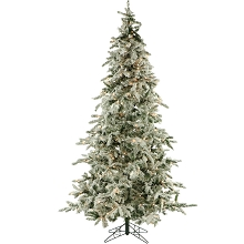7.5 Ft. Flocked Mountain Pine Christmas Tree with Clear LED String Lighting - FFMP075-5SN