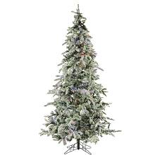 7.5 Ft. Flocked Mountain Pine Christmas Tree with Multi-Color LED String Lighting - FFMP075-6SNEZ
